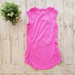 Fabletics Pink Mesh Back High Neck Tank Top